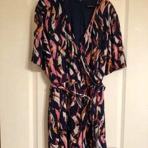 Faux wrap printed dress in abstract print